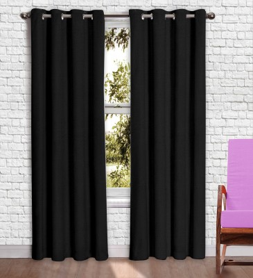 Story @ Home Jacquard Black Printed Eyelet Window Curtain