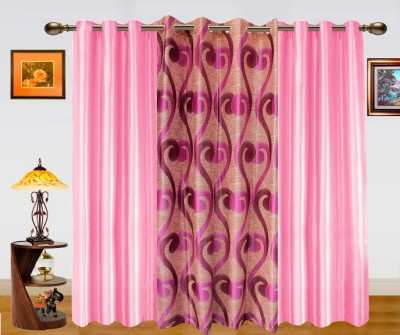 Dekor World Polyester Pink Abstract Eyelet Door Curtain