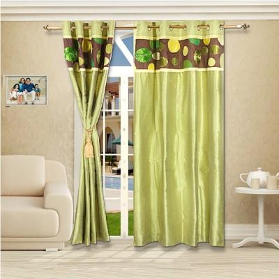 Eyda Polyester Green Abstract Eyelet Door Curtain