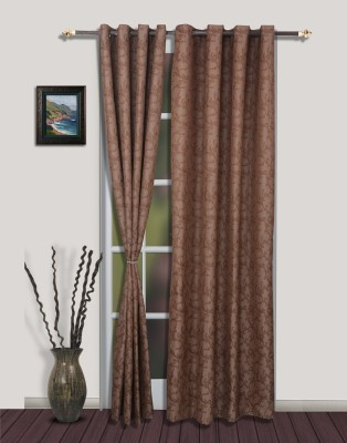 S9home by Seasons Polyester Brown Solid Eyelet Door Curtain