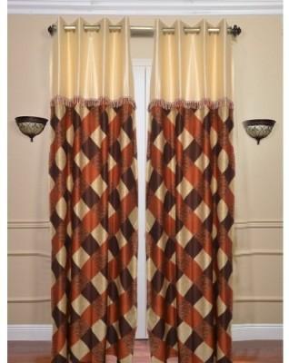 Sai Arpan Polyester Maroon Solid Eyelet Door Curtain