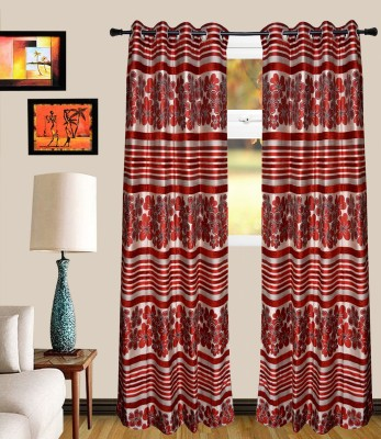 MF Chenille Red Floral Eyelet Door Curtain