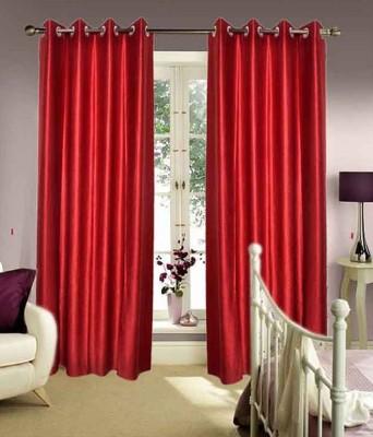 Fogg Polyester Maroon Solid Eyelet Door Curtain