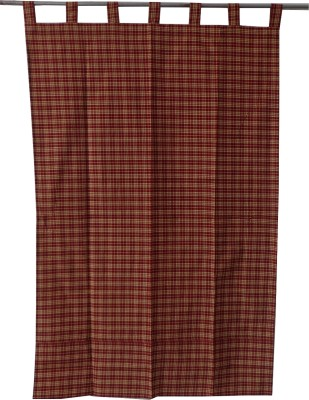 Adt Saral Cotton Red Checkered Eyelet Door Curtain