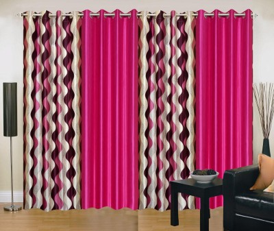 New Trends Polyester Pink Printed Eyelet Door Curtain