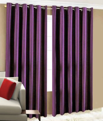 Home Candy Polyester Purple Solid Ring Rod Long Door Curtain