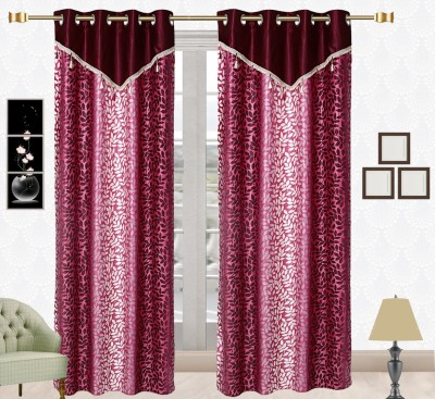 Comfort Zone Polyester Maroon And Light Maroon Floral Eyelet Long Door Curtain