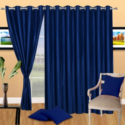 Excel Bazaar Polycotton Neavy-Blue Plain Eyelet Door Curtain