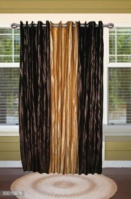 shoppeholics Polyester Dark Brown & Golden Self Design Curtain Door Curtain