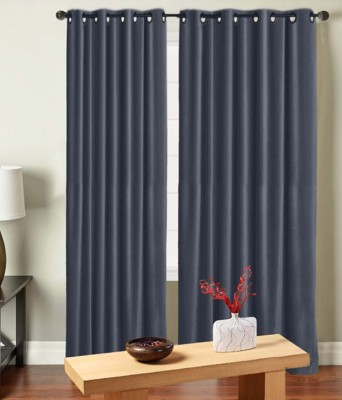 Saral Home Polyester Grey Solid Eyelet Door Curtain