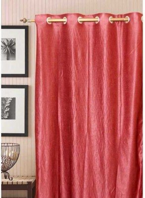Shopgalore Polyester Red Plain Eyelet Window & Door Curtain