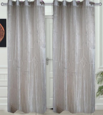 JF Tissue Cream Striped Eyelet Window & Door Curtain