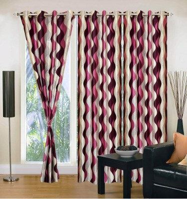 Handy Texty Polyester Pink Printed Eyelet Window Curtain