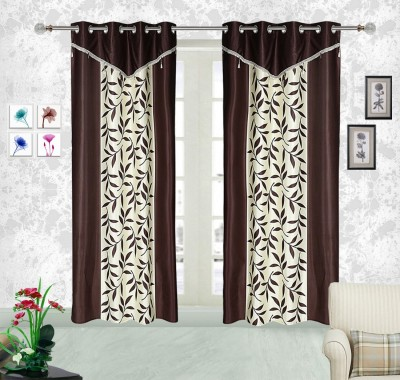 Comfort Zone Polyester Brown And White Abstract Eyelet Door Curtain
