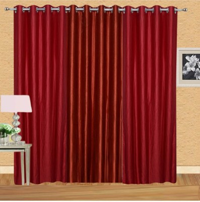sajaawat Polyester Red Solid Eyelet Door Curtain