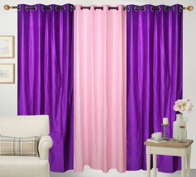 Shiv Shankar Handloom Polyester Purple, Light Pink Solid Eyelet Door Curtain