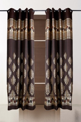 the handloom store Polycotton Brown Damask, Self Design Eyelet Door Curtain