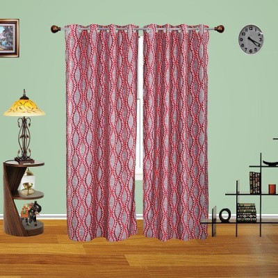 Harry Tex Polyester Red Floral Eyelet Door Curtain