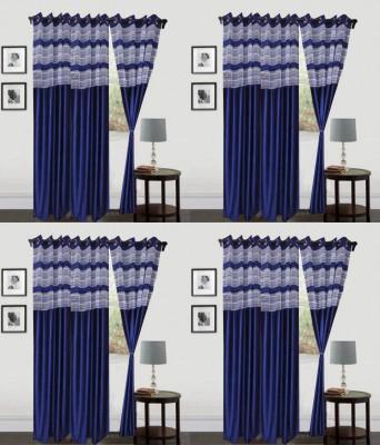 Decor Vatika Polyester Blue Abstract Eyelet Door Curtain