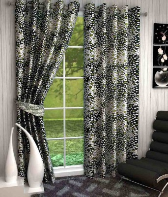 Divine Polyester Green Abstract Eyelet Door Curtain