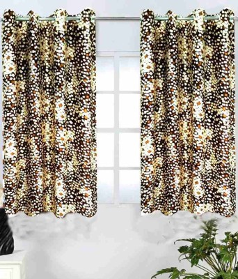 Shopgalore Polyester Brown Abstract Eyelet Window Curtain