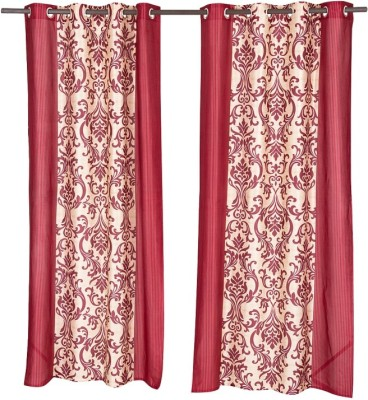 Home Aid Polyester Maroon Abstract Eyelet Door Curtain