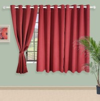 Swayam Silk Maroon Solid Eyelet Window Curtain(152 cm in Height, Single Curtain)