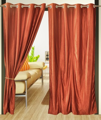 Home Candy Polyester Brown Printed Eyelet Door Curtain