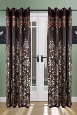 the handloom store Polycotton Brown Floral Eyelet Door Curtain