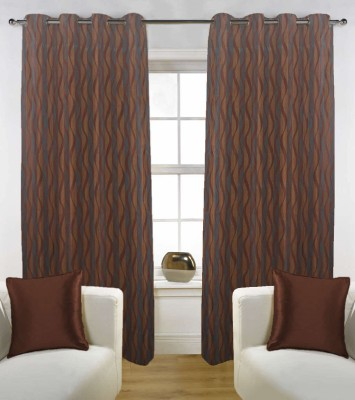 Grabodeal Polyester Brown Floral Eyelet Window Curtain