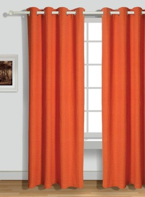 House This Cotton Orange Geometric Tab Top Window Curtain