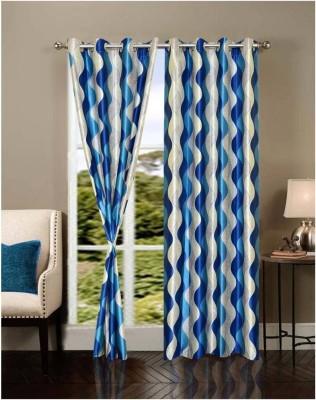 K Decor Polyester Blue Printed Eyelet Door Curtain