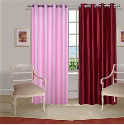 Fogg Polyester Pink, Red Solid Eyelet Door Curtain