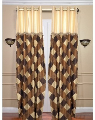 Sai Arpan Polyester Brown Solid Eyelet Door Curtain