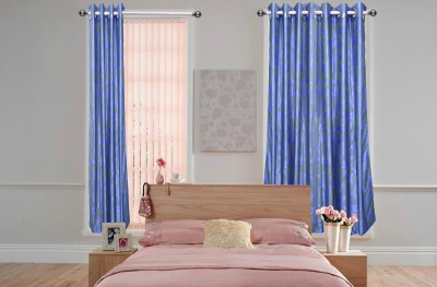 OsianArts Blue Solid Eyelet Door Curtain