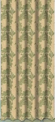 Drapez Polyester Brown & Green Floral Eyelet Door Curtain