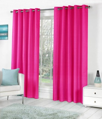 Home Fashion Gallery Polyester Pink Plain Eyelet Window Curtain