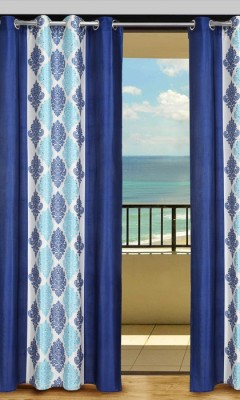 Home Aid Polyester Blue Geometric Eyelet Door Curtain