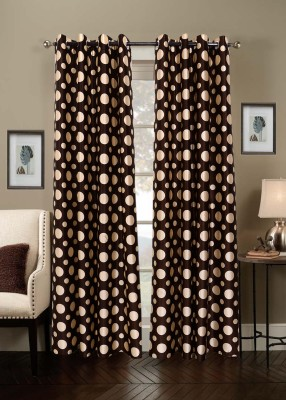 Jds Polyester Brown Geometric Ring Rod Door Curtain