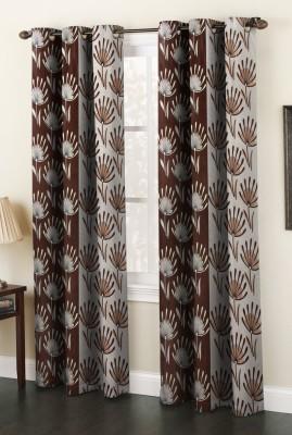 AJ Interior Polyester Coffee Printed Eyelet Long Door Curtain