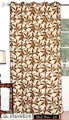 DRAPEZ Polyester Cream & Brown Floral Eyelet Window Curtain