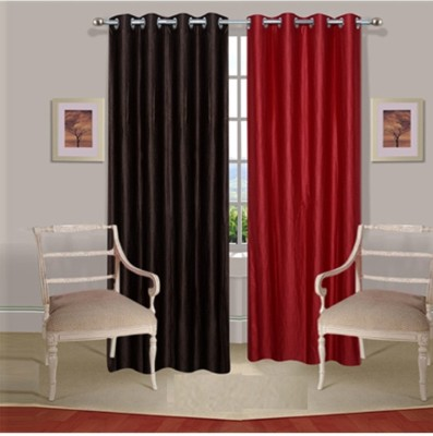 Fogg Polyester Brown, Red Solid Tab Top Door Curtain