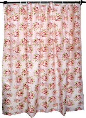 Skap Polyester Pink Floral Eyelet Shower Curtain