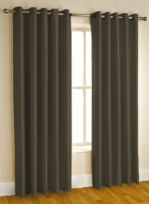 Kwality Polyester Brown Plain Eyelet Door Curtain