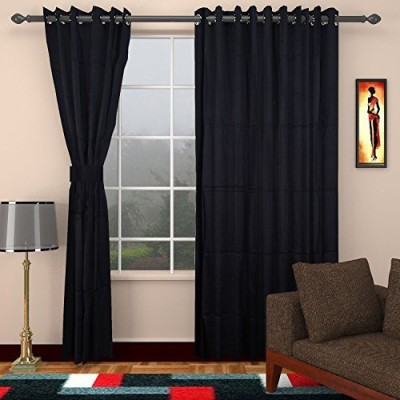 CPM HANDLOOM Cotton Black Plain Eyelet Window & Door Curtain