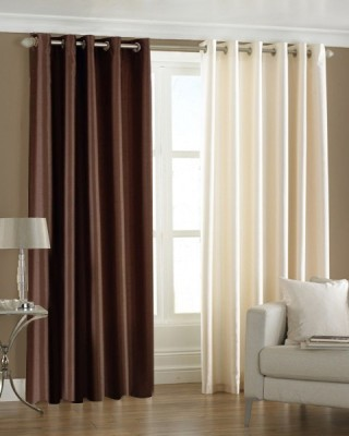 Homefab India Polyester Multicolor Solid Eyelet Long Door Curtain