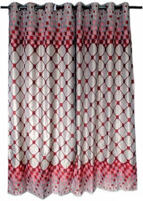 Krishna Handloom Centre Cotton Red Checkered Eyelet Door Curtain