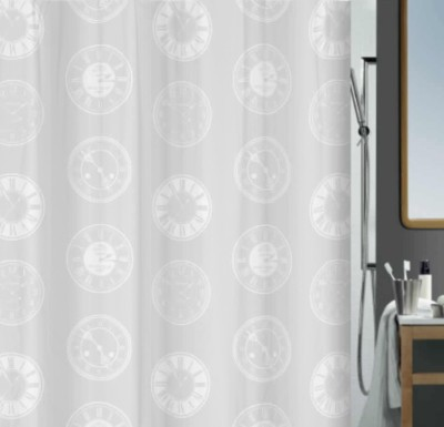 Spread Polyester White Printed Eyelet Shower Curtain