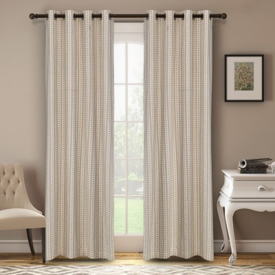 Soumya Polycotton Beige Plain Eyelet Long Door Curtain