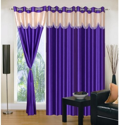 Handloom Hut Polyester Purple Solid Eyelet Door Curtain